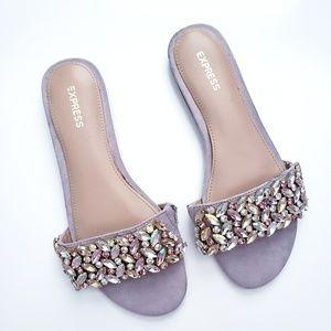 Express Embellished Jeweled Slide Sandals